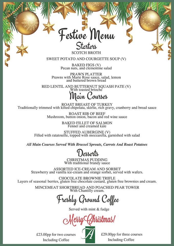 Christmas Menu.Christmas Dinner In Winterabdn Visitaberdeenshire